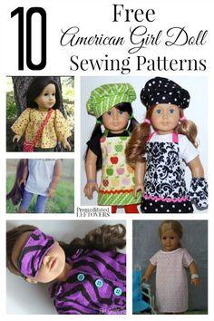 10 free American Girl sewing patterns.