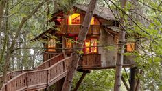 Complete with two bedrooms, a kitchen and bathroom, this treehouse is a perfect lofty retreat.