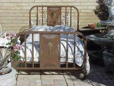 Wonderful Antique Weathered Iron Bed.