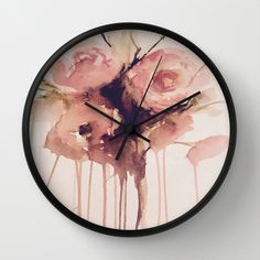 weeping roses, watercolour abstract flowers pink rose bouquet http://society6.com/product/weeping-roses-wp3_wall-clock#33=284&34=286