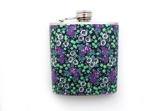Floral Customizable Flask in Purple, Mint Green, and White