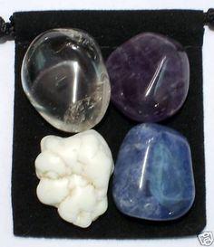 MEDITATION Tumbled Crystal Healing Set - 4 Gemstones w/Description & Pouch - Amethyst, Clear Quartz, Magnesite, and Sodalite. $4.99, via Etsy.