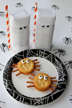 peanut butter spiders and mummy milk halloween snack