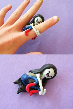 Marceline Ring by lemon-stockings on DeviantArt Cute Polymer Clay, Polymer Clay Charms, Polymer Clay Creations, Diy Clay, Handmade Polymer Clay, Clay Crafts, Diy And Crafts, Adventure Time Art, Cartoon Network Adventure Time