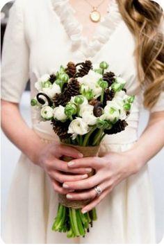 Pine Cone Winter Wedding Bouquet - Kate Osborne Photography