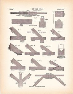 1892 Architecture Print - Carpentry Building Diagram - Vintage Antique Map Great for Framing 100 Years Old
