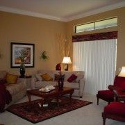 red couch with gold walls decorating ideas   Scheme Living Room Ideas With Creamy Wall And Sofa Combined With Red ...
