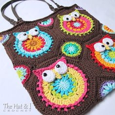 CROCHET PATTERN  Owl Tote'em  a colorful crochet owl