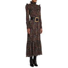Saint Laurent Paisley Print Maxi Dress ($1,625) ❤ liked on Polyvore featuring dresses, apparel & accessories, multi, paisley dress, flounce dress, long sleeve maxi dress, longsleeve dress and long ruffle dress