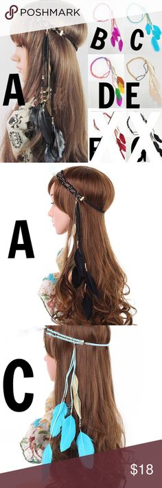 """🆕JUST IN! BOHO FEATHER CHAIN BRAID HEADBAND Each with beautiful gold plated chain mixed with a braided elastic headband rope. Five colors to choose from. Chose the letter of your choice. This listing is for one feather hairpiece. """"A""""=Black color with gold plated chain, """"B""""= Pink color with gold plated chain, """"C""""=Blue color with gold plated chain, """"D""""=Rainbow color with gold plated chain, and """"E""""= White color with gold plated chain. Accessories Hair Accessories"""