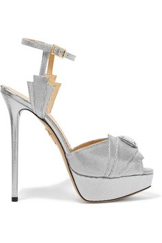 Charlotte Olympia Sky Scraper embellished metallic textured leather sandals