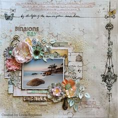 'Prima Epiphany' Collection layout by Linda Eggleton for All About Scrapbooks ~ Wendy Schultz ~ Scrapbook Pages 3.