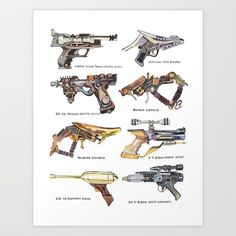 Star Wars Gun Collection Art Print by Holly Exley Illustration | Society6 AKA inspiration for my steampunk weapon ;)