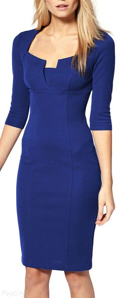 MIUSOL Business Tunic 3/4 Sleeve Bodycon Pencil Dress
