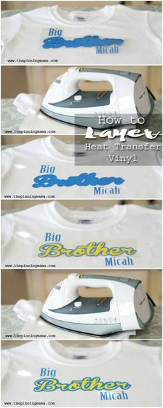 Layering Heat Transfer Vinyl to make multi color designs with your Silhouette of Cricut!