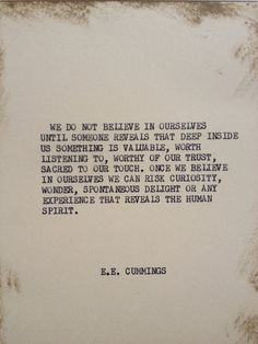 THE EE CUMMINGS Typewriter quote on 5x7 cardstock by WritersWire, $6.00