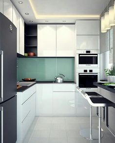 Spare No Expense With Small Kitchen Remodeling – Open Kitchen Designs Mini Kitchen, Little Kitchen, New Kitchen, Home Decor Kitchen, Kitchen Interior, Kitchen Ideas, Black Kitchens, Home Kitchens, Small Kitchens
