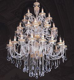 """Hollywood Regency Grand Regal Gold Fancy Beaded Crystals Chandelier,59'' x  71""""H #Unbranded #Traditional"""