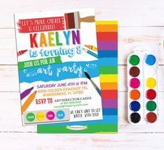 Art Party Invitation: Art Party Printable, Birthday Invitation, Art or Paint Party Invite, Rainbow Paint Party Printable Invitations Digital Art Party Einladung: Art Party von [. Art Party Invitations, Kids Birthday Party Invitations, Printable Invitations, Party Printables, Invites, Rainbow Birthday Party, Art Birthday, Paint Birthday Parties, Birthday Ideas