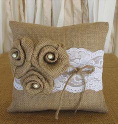 Ring Pillow Burlap Ring Bearer Pillow Wedding by RusticGlamDesigns