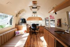 #Airstream office, 22' 1964 Safari, custom rennovation for the #office of the Inn Town Campground, Nevada City, California.  Photography by Kat Alves Photography