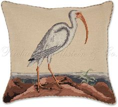 Bird Needlepoint Pillow. American Ibis Petit Point Pillow - Wildlife Pillows at NeedlepointPillows.com