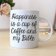 """Coffee Mug says """"Happiness is a cup of Coffee and my Bible"""" ❤ ABOUT JOYFUL MOOSE MUGS ❤ - 11 oz Ceramic Coffee Mugs - dishwasher and microwave safe - ready for gift giving packaged safely in a foam pa"""