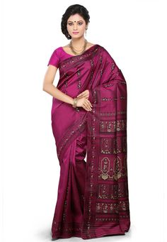 Buy Magenta Pure Silk Baluchari Handloom Saree with Blouse online, work: Hand Woven, color: Magenta, usage: Wedding, category: Sarees, fabric: Silk, price: $212.00, item code: SHC60, gender: women, brand: Utsav