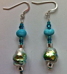 hilary bravo papier mache earrings - iridescent heat shrunk layers and matte paste with glass beads
