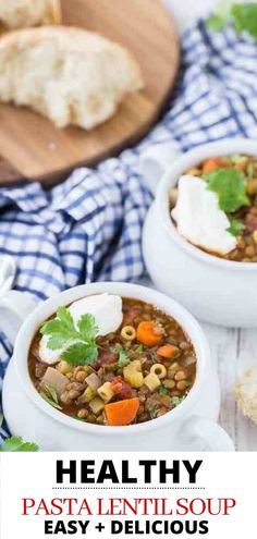 Hearty and healthy, this easy lentil soup recipe is loaded with flavorful veggies and pasta. Lentil soup is a satisfying, meatless entree you can serve in under an hour. Make this vegetarian dish with pantry staples on the stovetop or in the crockpot. Wheat Pasta Recipes, Yummy Pasta Recipes, Lunch Recipes, Whole Food Recipes, Dinner Recipes, Cooking Recipes, Crockpot Recipes, Vegetarian Soup, Vegetarian Recipes