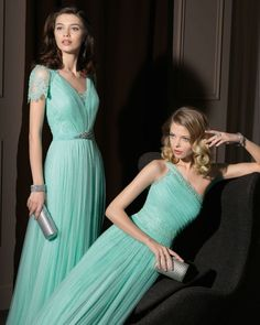 Gorgeous 2014 Bridesmaid Dresses from Aire Barcelona in mint, lace, and tulle........ The dress on the left will be mine one day!!!!!!!!!!! or maybe a bridesmaid dress