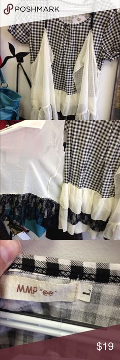 Super cute boutique style 2 piece shirt I could say so much about this shirt, it's fabulous!! 2 piece shirt short sleeve white and black shirt with ruffles and lace, with a sheer white vest to go on top! The details on this piece are truly one of a kind! Tops Tunics