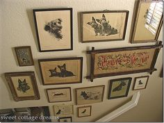 Wall of Vintage Scottie Prints