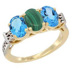 Malachite 3-Stone Rings - 14K Yellow GOld Diamond Jewelry - Affor Price: Contact Us