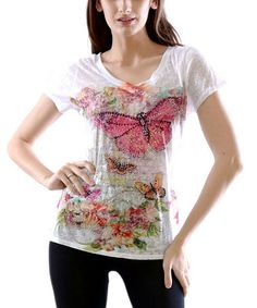 Another great find on #zulily! White Butterfly Burnout Tee #zulilyfinds