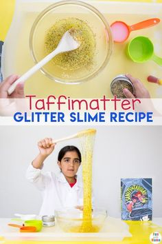 This glitter slime recipe includes a fun book inspired slime tutorial. This is a super fun glitter slime recipe that you have to try! This particular recipe is glitter slime without borax. #slime #slimetutorial #slimerecipe via @funwithmama