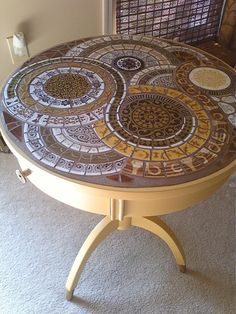 Mosaic Topped Mustard Yellow Mid Century Table.