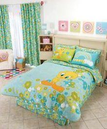 teal turquoise yellow tweety bird bedding set girls bedroom pictures