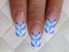 NailArt Design SIMPLE One Stroke Tutorial - in blau / weiss mit Strasssteinchen 2/3