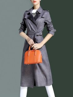 Shop Coats - Gray Long Sleeve Solid Lapel Coat online. Discover unique designers fashion at StyleWe.com.