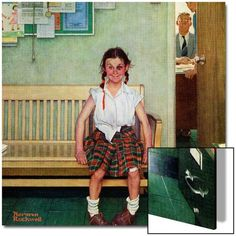 """Shiner"" or ""Outside the Principal's Office"", May 23,1953 Art on Acrylic by Norman Rockwell at Art.com"