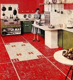 "Kentile Floors ""The American Home"" magazine February tapa cloth inspired linoleum, vintage kitchen Vintage China, Vintage Ads, Vintage Decor, Vintage Stuff, Vintage Houses, Red Kitchen, Vintage Kitchen, 1950s Kitchen, Retro Kitchens"