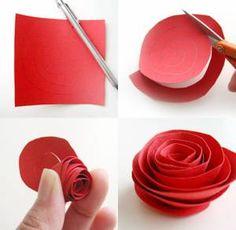簡単紙のバラ作り方