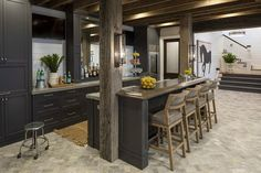 Rustic Basement Bar, Wet Bar Basement, Basement Kitchenette, Basement Bar Designs, Basement House, Basement Ideas, Basement Ceilings, Basement Finishing, Wet Bar Designs