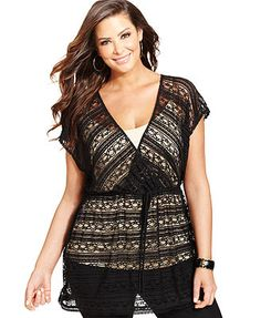 NY Collection Plus Size Short-Sleeve Lace Tunic Top