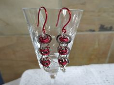 Barrel Weave Chainmaille Earrings  Red and by PlumbPerfectCreation