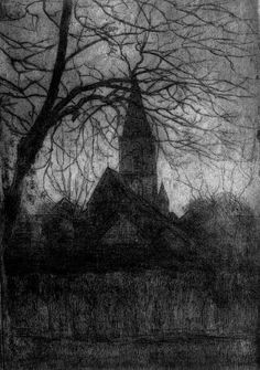 Piet Mondrian Artist: Piet Mondrian Style: Post-Impressionism Genre: cityscape Tags: gates-and-towers, forests-and-trees, churches-and-temples Piet Mondrian, Mondrian Kunst, Nocturne, Van Gogh, Dutch Painters, Post Impressionism, Dutch Artists, Gravure, Les Oeuvres