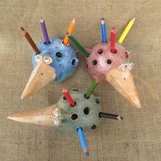 keramický pták tužkovník 2