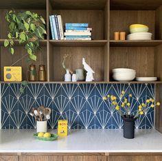 Pic credit - @stokperd Honeycomb Tile, Hexagon Tiles, Honeycomb Pattern, Denim Decor, Metro Tiles, Wow Products, Tile Design, Floating Shelves, Thankful