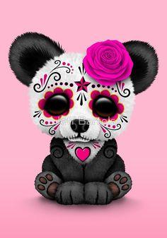 Pink Day of the Dead Sugar Skull Panda